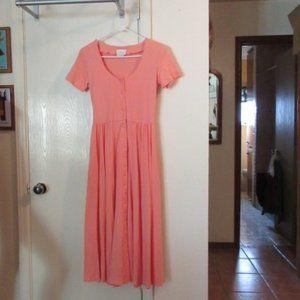 Pale Peach Polyester Cotton Dress MODA INTL Small